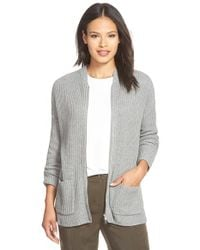Eileen Fisher - Gray Zip Front Rib Organic Cotton & Cashmere Cardigan - Lyst
