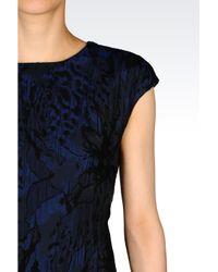 Emporio Armani   Blue Brocade Matelassé Dress   Lyst