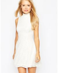 ASOS - Natural Sleeveless Lace Skater Dress - Lyst