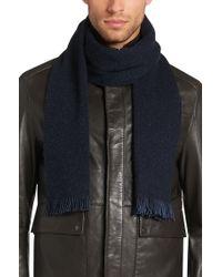 BOSS - Blue 'marios'   Wool Silk Blend Melange Scarf for Men - Lyst