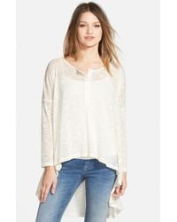 Lily White - White High/low Henley - Lyst