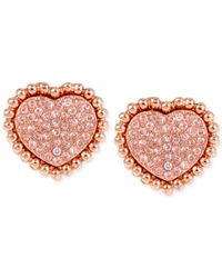 Betsey Johnson | Pink Rose Gold-tone Pavé Heart Stud Earrings | Lyst