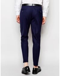 Noose And Monkey - Blue Trousers With Stretch And Double Pleat In Tapered Fit for Men - Lyst
