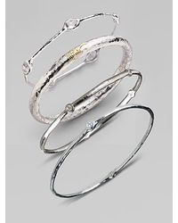 Ippolita | Metallic Stella Diamond & Sterling Silver Five-stone Bangle Bracelet | Lyst