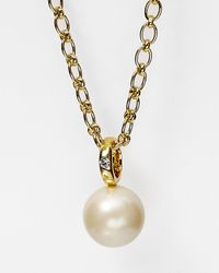 kate spade new york | Metallic Faux Pearl Pendant Necklace, 33"