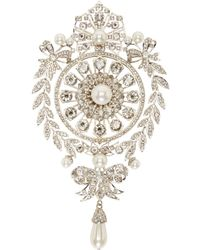 Givenchy | Metallic Silver Pearl And Rhinestone Brooch | Lyst
