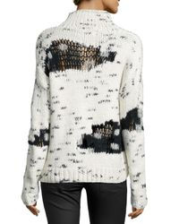Line - Black Earnest Mock-neck Distress-knit Sweater - Lyst