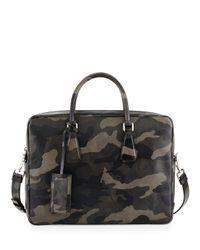 Prada - Green Camo Saffiano Zip-around Briefcase - Lyst