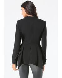 Bebe | Black Dramatic Peplum Jacket | Lyst