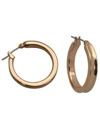 Guess | Pink Rose Gold-tone Hoop Earrings | Lyst
