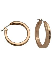 Guess - Pink Rose Gold-tone Hoop Earrings - Lyst