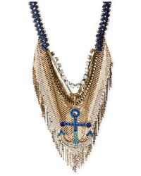 Betsey Johnson | Metallic Gold-Tone Mesh Fringe And Crystal Anchor Pendant Frontal Necklace | Lyst