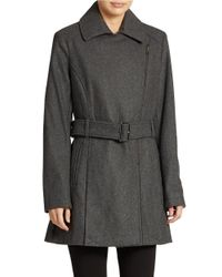 Kenneth Cole Reaction | Gray Belted Zip Front Coat | Lyst