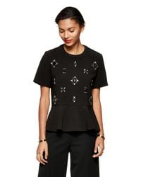 kate spade new york | Black Embellished Ruffle Top | Lyst