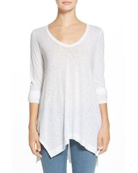 Splendid | White Drapey Long Sleeve Slub Tee | Lyst
