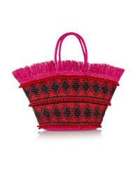 Sensi Studio | Red Maxi Fringed Woven Toquilla Straw Tote | Lyst