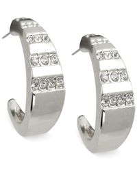T Tahari | Metallic Gold-tone Crystal Graduated Hoop Earrings | Lyst