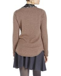 In Cashmere - Brown Shirttail Sweater - Lyst