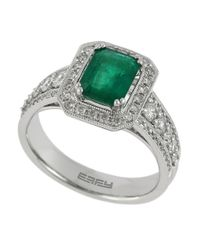 Effy | Metallic Diamond, Emerald And 14K White Gold Ring, 0.68 Tcw | Lyst