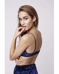 51753c9027 Lyst - TOPSHOP Velvet And Lace Triangle Bra in Blue