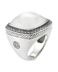 David Yurman | Multicolor Pre-Owned: Vintage Ss/Blk Rhodium Albion Ring With Moonlight Ice And Pave .72Cts | Lyst