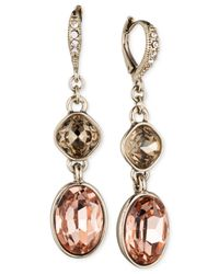 Givenchy | Pink Gold-Tone Double Drop Earrings | Lyst