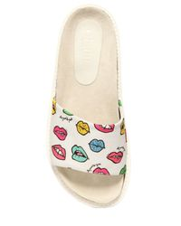 Au Jour Le Jour - White Lips Printed Techno Canvas Slide Sandals - Lyst