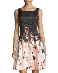 Chetta B - Black Floral Sleeveless Fit-&-flare Dress - Lyst
