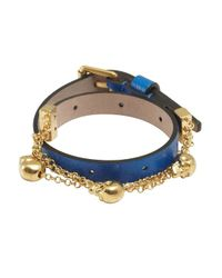 Alexander McQueen | Bright Blue Leather Double Wrap Skull Bracelet | Lyst