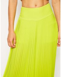 ASOS - Yellow Pleated Wide Leg Pants - Lyst