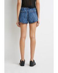 Forever 21 | Blue Denim Tulip-front Shorts | Lyst
