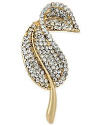 Charter Club - Metallic Charter-club Gold-tone Crystal Pave Leaf Pin, Only At Macy's - Lyst