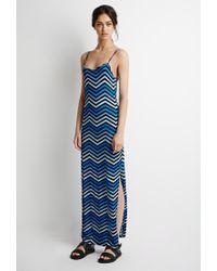 Forever 21 - Blue Chevron-striped Maxi Dress - Lyst