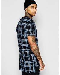 Vivienne Westwood Anglomania - Blue Longline T-shirt With Tartan Panel for Men - Lyst