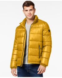 Guess | Yellow Quilted Shell Puffer Jacket for Men | Lyst