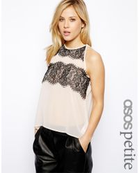 ASOS - Natural Exclusive Cut Away Top with Lace Panels - Lyst