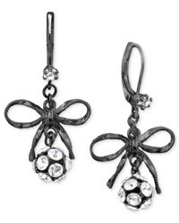 Betsey Johnson | Black Bow Earrings | Lyst