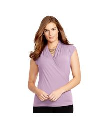 Ralph Lauren | Purple Surplice Stretch Jersey Top | Lyst