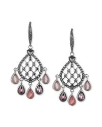 Judith Jack | Pink Sterling Silver Rose Peach Crystal Gypsy Earrings | Lyst