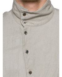 The Viridi-anne - Blue Asymmetric Placket Long Twill Shirt for Men - Lyst
