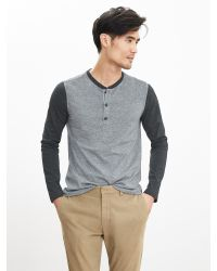 Banana Republic | Gray Soft-wash Colorblock Henley for Men | Lyst