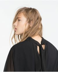 Zara | Black Shirt With Back Tie | Lyst