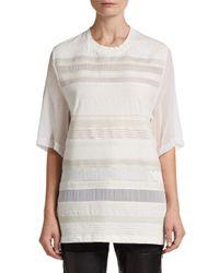 3.1 Phillip Lim - White Striped Silk-chiffon Paneled Tee - Lyst