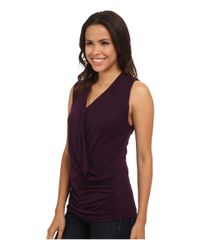 Michael Stars | Purple Sleeveless Draped Front Top | Lyst