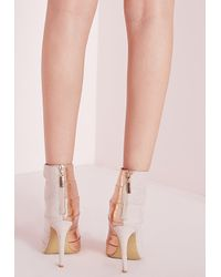 Missguided - Pink Cut Out Detail Heeled Sandals Rose Gold - Lyst