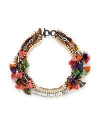 Venna | Multicolor Crystal Pompom Chain Collar Necklace | Lyst
