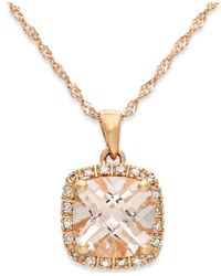 Macy's - Metallic Morganite (1-1/4 Ct. T.w.) And Diamond Accent Pendant Necklace In 14k Rose Gold - Lyst