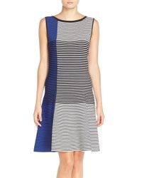 Vince Camuto - Blue Stripe Knit A-line Dress - Lyst