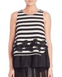 Thakoon - Black Layered Striped Tank - Lyst