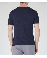 Reiss - Blue Habit Flecked Crew Neck T-shirt for Men - Lyst
